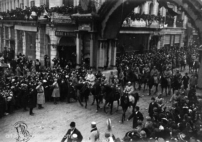 """December 1, 1918- The return home. Queen Marie: """"It is true that on this day- we have returned triumphant!"""""""